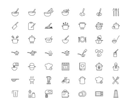 Cooking icons set. Kitchen utensils, boiling, frying, chef hat, cooking book