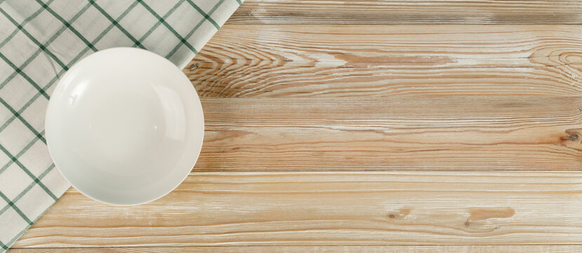 Empty Plate on White Wooden Table Top View with Copy Space