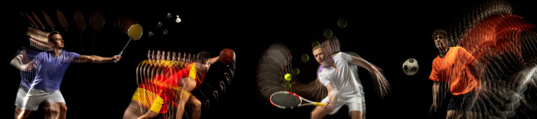 Sportsmen playing basketball, tennis, soccer football, gymnastics on black background in mixed...