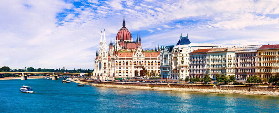 Beautiful Budapest - panoramic view woth Parliament. Hunagry