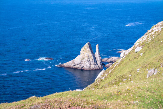 The An Bhuideal sea stack in County Donegal - The highest sea stack in Ireland