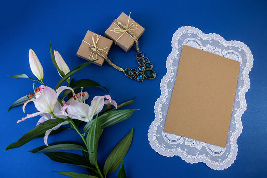 flat lay with places for text can be used as an Internet banner, greeting card, announcement of discounts for the holiday and on any other topic