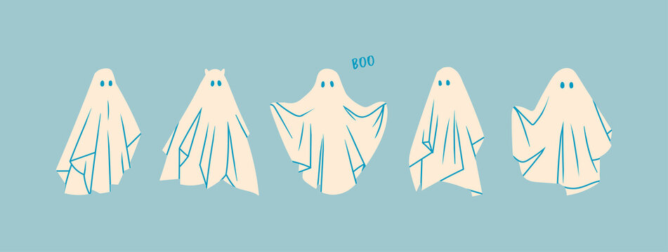 Set of Ghosts. Flying Phantoms. Halloween scary ghostly monsters. Cute cartoon spooky characters. Holiday Silhouettes. Hand drawn trendy Vector illustration. All elements are isolated on blue