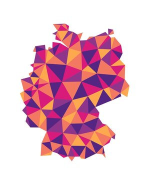 Germany polygonal map colorful vector