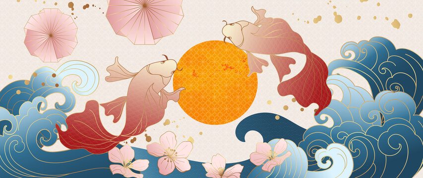 Luxury gold oriental style background vector. Chinese and Japanese oriental line art with golden texture. Wallpaper design with flower and koi carp fish. Ocean and wave wall art. Vector illustration.