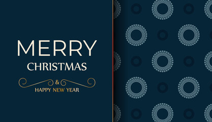 Obraz Merry christmas card in dark blue color with abstract blue pattern - fototapety do salonu