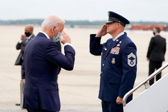 U.S. President Joe Biden departs for Dover, Delaware