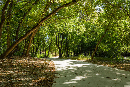 Shade covers the Kerrville Urban Trail Systems river trail on a late summer afternoon...