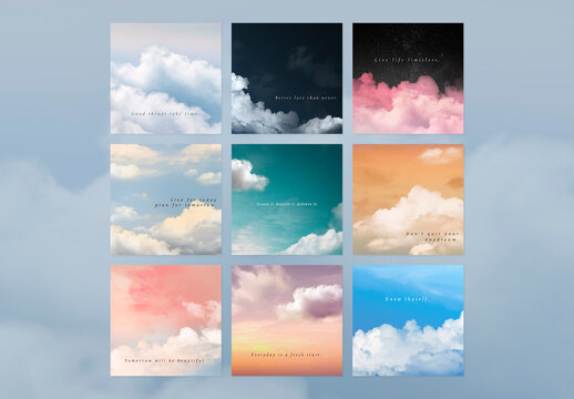 Sky and Clouds Editable Social Media Layout Set