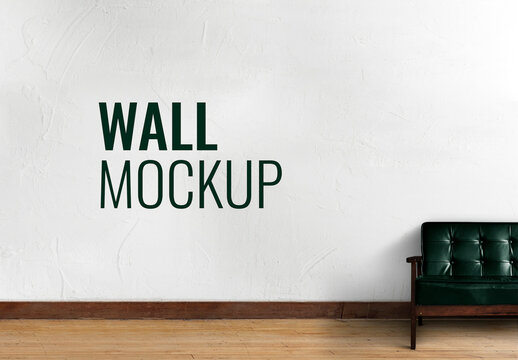 Wall Mockup with Sofa in Living Room