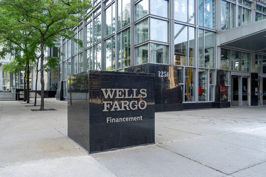 Montreal, QC, Canada - September 4, 2021: Wells Fargo Capital Finance  office building in Montreal, QC, Canada. Wells Fargo & Company is an American multinational financial services company.