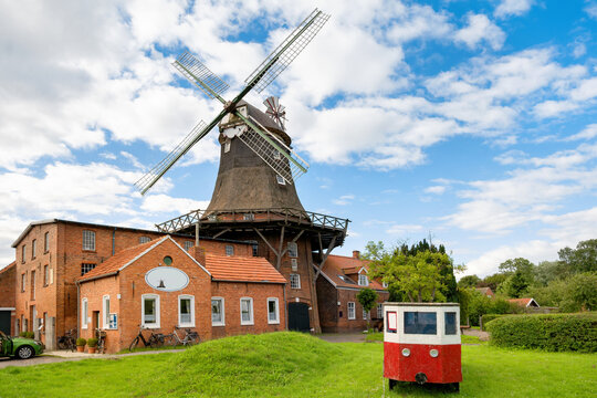 Old windmill in Pewsum, East Frisia, Germany