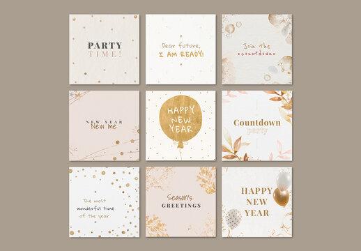 New Year Greeting Layout Social Media Post Set