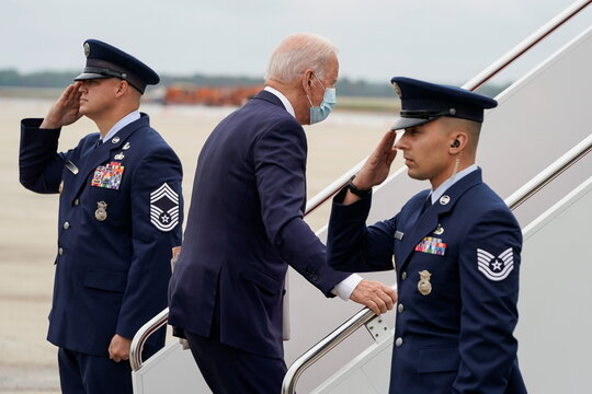 U.S. President Joe Biden boards Air Force One at Joint Base Andrews in Maryland