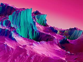 Multicolored 3d futuristic landscape. neon color. 3d illustration. 3d background. 3d render