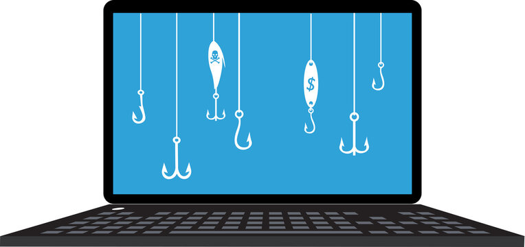 Multiple fishing lures and hooks on a laptop screen as a metaphor for phishing, EPS 8 vector illustration