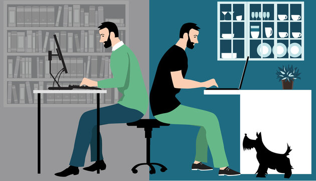 Man in hybrid work place sharing his time between an office and working from home remotely, EPS 8 vector illustration