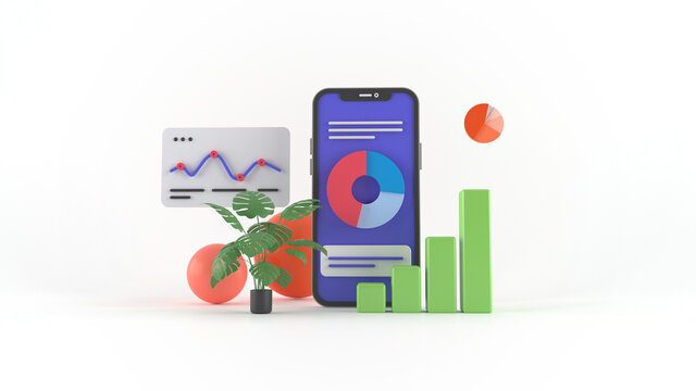 Dashboard UI. Modern presentation with data graphs and HUD diagrams. 3d illustration abstract modern web UI design