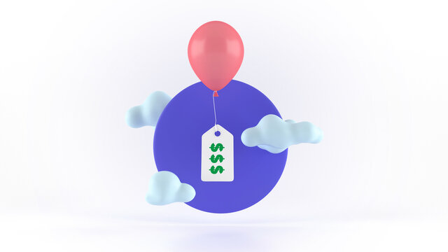 A balloon with a price label. Modern 3d illustration, concept low price, discounts.
