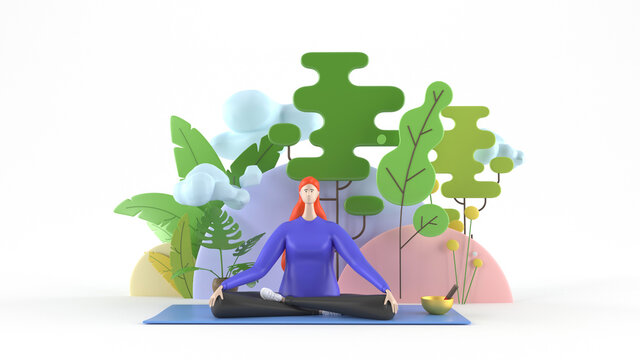 3d illustration. A young, healthy, beautiful woman practicing yoga, sitting in the lotus position on a yoga mat, meditating, smiling relaxedly with her eyes closed, against a background of trees and