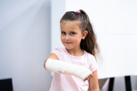 Young Child Girl With Arm Fracture
