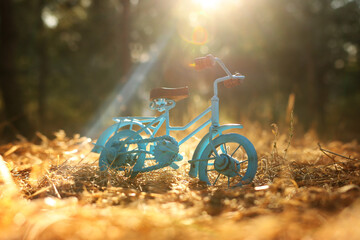 Blue vintage bicycle toy waiting outdoors at sunset light