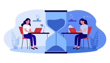 Female cartoon character working late at home or office. Energized and sleepy women at desk separated by huge hourglass flat vector illustration. Workplace, deadline concept for banner, website design