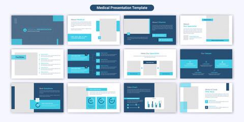 Fototapeta Medical PowerPoint presentation slide template design. Use for modern keynote presentation background, brochure design, website slider, landing page, annual report, company obraz