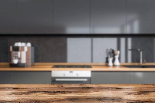 Dark cozy kitchen room interior with good display for advertisement