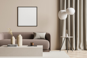 Empty canvas in a beige living room with modern details