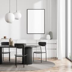 Fototapeta Bright living room interior with white empty poster, panoramic window obraz