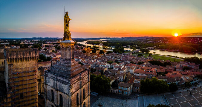 The aerial view of Avignon, a city in southeastern France's Provence region