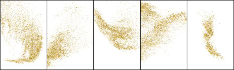 Fototapeta Set of Gold Glitter Texture Isolated On White. Amber Particles Color. Stardust Background. Golden Explosion Of Confetti. Vector Illustration, Eps 10. obraz