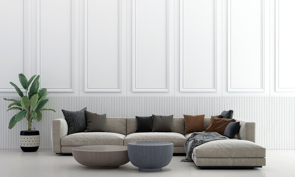 Modern cozy living room interior and furniture decoration and white wall pattern background