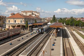 Connecting Europe Express train in the Sibiu city station, Transylvania region, Romania