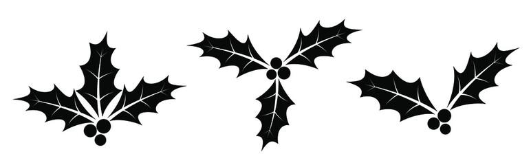 Fototapeta Holly berry icon. Set of black christmas berry icons. Holly berry icon in flat design. Vector illustration. obraz