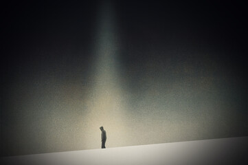Fototapeta A mental health concept. Of a lonely figure walking in a dark minimal landscape. With a texture edit obraz
