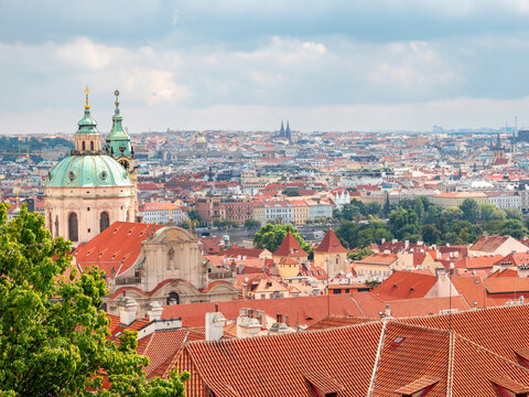 panoramic view of Prague. Czech republic. Travel and sights of city breaks. landmarks, travel guide and postcard.