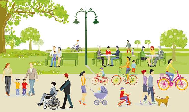 Familien erholen sich in der Freizeit im Stadtpark