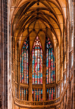 Prague, Czech Republic - August 30, 2021: Details of St. Vitus cathedral in Prague castle. popular tourist attraction. Travel and sights of city breaks. landmarks, travel guide and postcard.