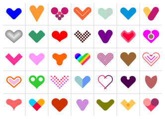 Colored Hearts vector icons isolated on a white background, set of decorative design elements. Large bundle of multicolored heart shapes. Can be used as a logo.