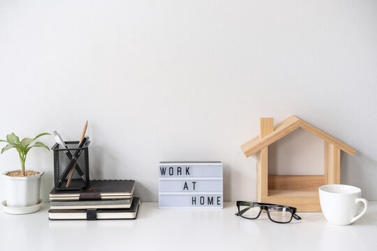 Modern and stylish workspace mock up and desk office supplies with white background and copy space, Work at home concept