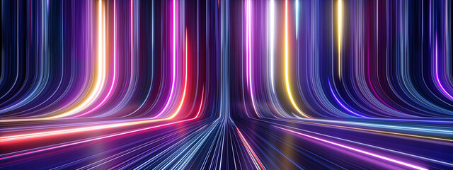 Fototapeta 3d render, abstract panoramic neon background with glowing colorful lines obraz