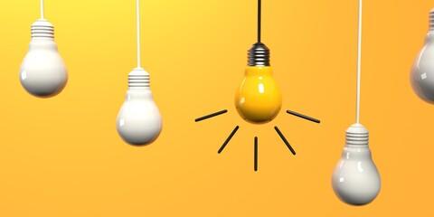 Fototapeta One out unique idea light bulb - 3D render obraz