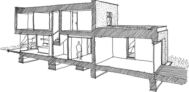 hand drawn architectural sketch of cross section through a modern detached house