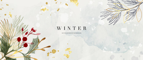 Fototapeta Winter background design  with watercolor brush texture, Flower and botanical leaves watercolor hand drawing. Abstract art wallpaper design for wall arts, wedding and VIP invite card.  Vector EPS10 obraz