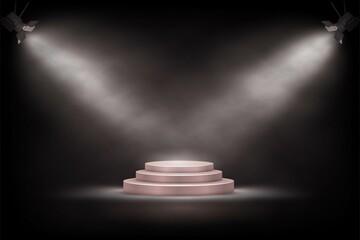 Fototapeta 3d podium, round platform stage and spotlights, empty realistic pedestal with steps obraz