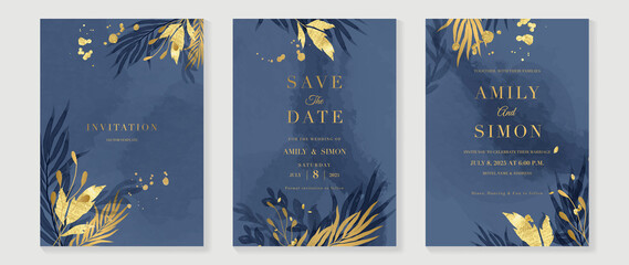 Obraz Blue and navy indigo floral and gold watercolor wedding invitation vector set. Luxury background and template layout design for invite card, luxury invitation card and cover template. - fototapety do salonu