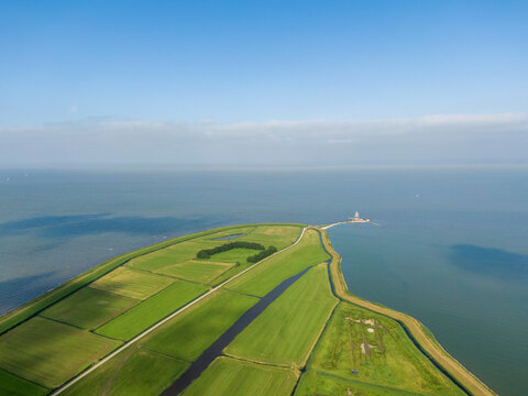 Aerial view of Marken peninsula in North Holland