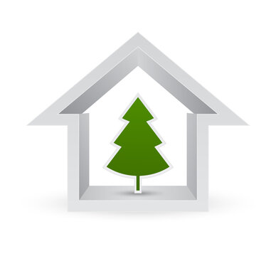 house with christmas tree 3d icon